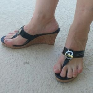MICHAEL KORS Black Wedge Heel Sandals Size 9.5